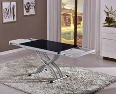 Table Basse Relevable Zen Finition Laque Noir
