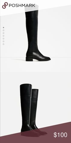 Zara over the knee tall black boots Brand new Zara Shoes
