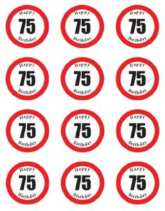 PRE-CUT HAPPY 75TH BIRTHDAY SIGN EDIBLE RICE / WAFER PAPER CUP CAKE TOPPERS PARTY DECORATION
