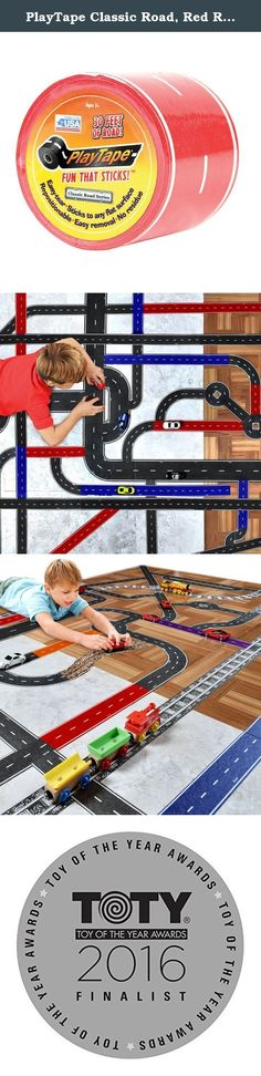 """PlayTape Classic Road, Red Road - Instantly Create your Own Roads Anytime, Anywhere - For All Kids Who Love Cars & Trains - Perfect for Birthday Gifts & Endless Fun (Red Road 30'x2""""). Printed To Look Like A Road, Play tape Classic Road Series Is A Roll Of Removable Tape That's Perfect For Playing With Die-Cast Toy And Model Cars Like Hot wheels And Matchbox. Play tape Is The Fastest Way To Create Roads For Imaginative Play, Display, Or Decoration. Play tape Has Been Specifically Designed…"""