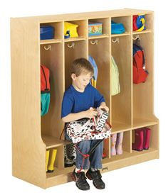 Jonti-Craft® 5 Section Coat Locker with Step - A handy edge for sitting while tying shoes or putting on boots.