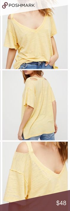 We The Free People Surfs Up Ripped Distressed Tee Details Ultra relaxed V-neck tee featuring distressed details and unfinished edges for a lived-in look. Semi-sheer fabrication. 12% Rayon. 38% Cotton. 50% Polyester. Machine Wash Cold. Color: yellow. Worn one time - like new! Free People Tops