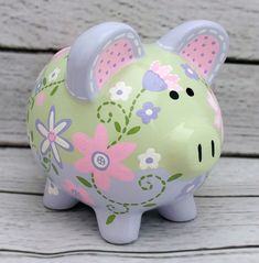 Painting a Ceramic Piggy bank - Time Lapse - Lavender garden by Alphadorable Pottery Painting, Ceramic Painting, Pig Bank, Cute Little Things, Hand Painted Ceramics, Toddler Crafts, Custom Items, Art For Kids, New Baby Products