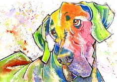 Great Dane Print of Original Watercolour Painting Watercolor Hound Dog Pup Puppy Animal Canine Artwork Gift Picture Art by Josie P. Weimaraner, Pictures To Paint, Print Pictures, Dog Paintings, Watercolor Paintings, Watercolours, Dachshund, Great Dane Puppy, Abstract Animals