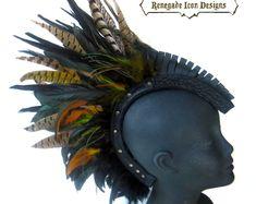 Mohawk pedazo principal vestido de cuero cabeza de pluma