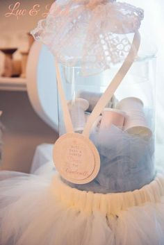 Such a pretty centerpiece at a Cinderella ballet birthday party! See more party planning ideas at CatchMyParty.com!
