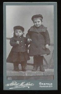 Vintage cabinet card two German children