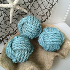 Nautical rope knot balls  3 decorative by highplainsknotwork