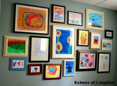 kids artwork display ~ i need to do this! Childrens Artwork, Kids Artwork, Kids Room Art, Art Wall Kids, Art For Kids, Wall Art, Kid Art, Artwork Wall, Kids Rooms