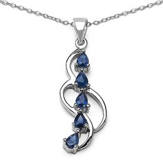 This elegant, sapphire necklace makes the perfect gift for that special someone. Five, teardrop-shaped, genuine sapphires stream over sensuously curved sterling silver hanging from an 18-inch chain. This classic design is suitable for the most occasions.