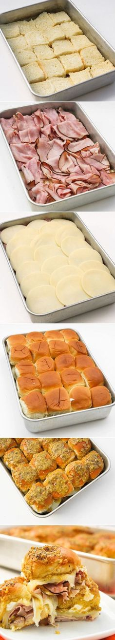 Roll Ham Sliders Easy Hawaiian Rolls with Ham and Cheese perfect for a Brunch the next morning or a quick slumber party snack at night.Easy Hawaiian Rolls with Ham and Cheese perfect for a Brunch the next morning or a quick slumber party snack at night. Think Food, I Love Food, Good Food, Yummy Food, Fun Food, Easy Food For Party, Finger Foods For Party, Birthday Food Ideas For Kids, Easy Finger Food