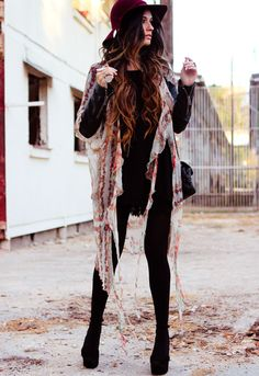 Gypsy boho winter threads. Love that oxblood wool hat.
