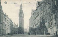 Botermarkt, zicht op het Belfort en het stadhuis, Gent