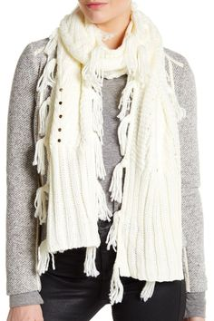 Geometric Stitch Fringed Muffler Scarf