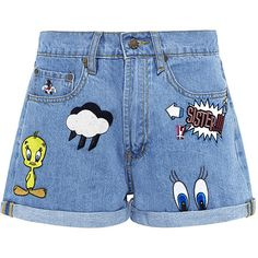 Paul & Joe Sister - Patch Embroidered Looney Denim Shorts ($175) ❤ liked on Polyvore featuring shorts, bottoms, short, pants, patch shorts, comic book, jean shorts, denim short shorts and denim shorts
