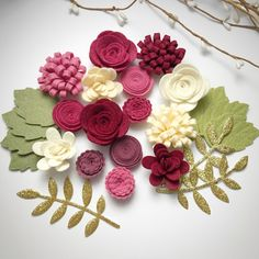 New Cherry Cobbler felt flower set