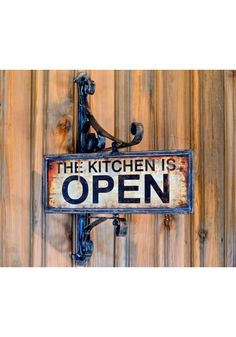 Kitchen is Open or Closed Spinning High Quality Metal Aged Vintage Style Shop Sign