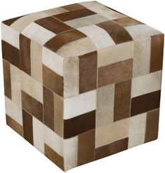 Furniture - Leather Cowhide Pouf Cube Ottoman - Patchwork