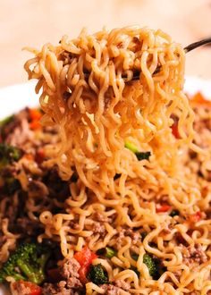Beef Ramen Noodles Stir Fry is a quick budget-friendly way to use instant ramen! Instead of using ramen soup packets, you will make quick homemade sauce, packed with flavor! This healthy ramen noodles recipe is Beef Ramen Noodle Recipes, Healthy Ramen Noodles, Meat Recipes, Asian Recipes, Dinner Recipes, Cooking Recipes, Healthy Recipes, Hamburger Recipes, Ethnic Recipes