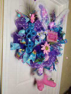 Deco Mesh Easter Bunny Wreath by WreathsbyCrazyLady on Etsy