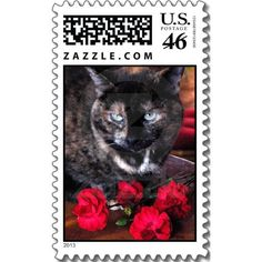Tortoiseshell cat with red flowers stamp