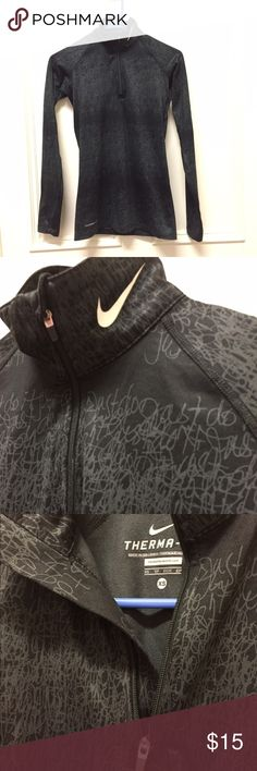Nike Long Sleeve Quarter-zip Never worn, NWOT Nike therma-fit long sleeve quarter zip, black and dark grey. Smoke free home. No flaws. Would fit a small or an extra small. Nike Tops Tees - Long Sleeve
