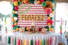 Pineapple themed dessert table from a Party Like a Pineapple Tropical Birthday Party on Kara's Party Ideas | KarasPartyIdeas.com (19)