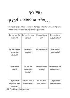 FInd Someone Who Bingo-Present Simple