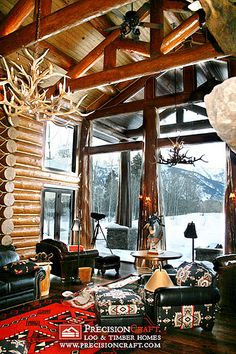 Log Home Great Room Constructed Using Handcrafted Logs