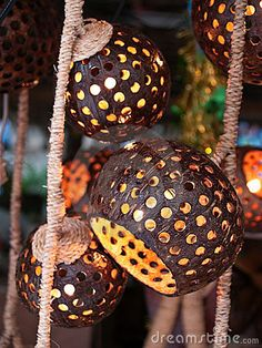 Coconut Shell Lamp | Coconut shell lamp by Exsodus, via Dreamstime