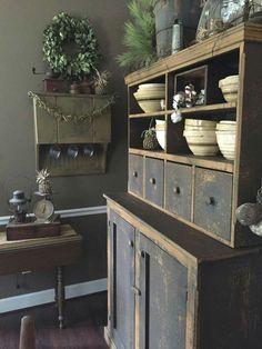 ❤❤                                                       … Farmhouse Cabinets, Antique Cabinets, Kitchen Cupboards, Primitive Furniture, Furniture Decor, Painted Furniture, Primitive Homes, Primitive Kitchen, Primitive Country