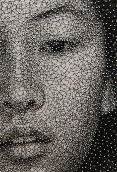 Portraits Made From a Single Thread Wrapped Around Thousands of Nails By Kumi Yamashita