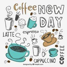 Tazze di caffè disegnate a mano