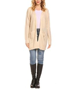 Zeagoo Womens Fashion Open Front Long Sleeve Cardigans Sweater with Pocket Apricot XL ** Read more at the image link. (This is an affiliate link)
