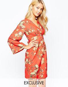 Closet Longer Kimono Sleeve Wrap Front Midi Dress