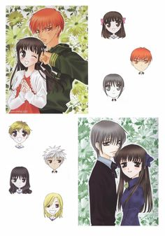 I used to ship Yuki and Tohru (bottom right) but as the story progressed, i shipped Tohru and Kyo (top left)... and rightly so!