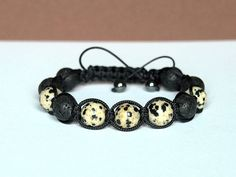 Men's Bracelet Dalmation Jasper and Lava Natural by CITBhandmade
