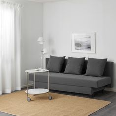 ASARUM Knisa dark grey, 3-seat sofa-bed - IKEA Sofa Bed Uk, 3 Seat Sofa Bed, Ikea Sofa Bed, Sofa Set, Seat Cushions, Pillows, Beds For Small Spaces, Small Sofa, Leather Dining Room Chairs