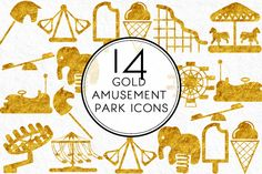 Gold Amusement Park Icons by Kaazuclip on Creative Market