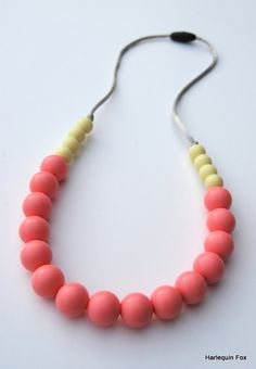 Silicone Teething Necklace / Silicone Nursing by HarlequinFox, $15.00