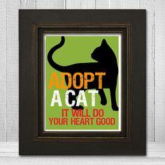 Cat Silhouette Print  Cat Print 8x10  Custom Pet by TheLemonPeel
