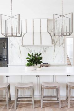 Looking for Transitional Kitchen and Open Plan Kitchen ideas? Browse Transitional Kitchen and Open Plan Kitchen images for decor, layout, furniture, and storage inspiration from HGTV. White Kitchen Island, All White Kitchen, Kitchen Island Lighting, Open Plan Kitchen, New Kitchen, Kitchen Decor, Kitchen 2016, Stylish Kitchen, Kitchen Ideas