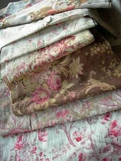 antique faded roses | ... collection 7 antique French 19thC fabric - cabbage roses faded florals