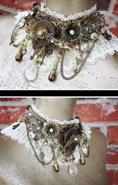 Steampunk Lace Statement Necklace