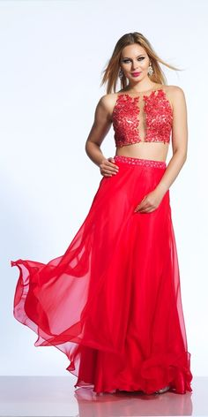 Wishesbridal #TwoPiece Red Illusion Appliques A Line #PromDress Cwb0502