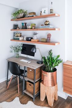 Bev's office area. The Gemelli Writing Desk is from Wayfair. The Wood File Holder is from Target.