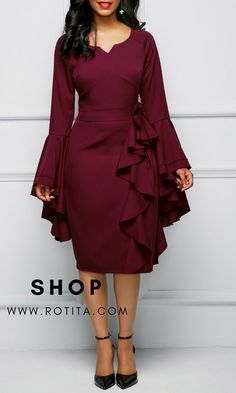 Rotita Hot Dress on 2018 Bowknot Embellished Flare Sleeve Burgundy Stylish Dresses, Women's Fashion Dresses, Sexy Dresses, Beautiful Dresses, Casual Dresses, Jeans Fashion, Sleeve Dresses, Fashion Rings, Party Dress Sale