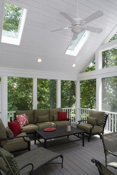 Skylights brighten a relaxing screened porch - Find a Don Gardner home design with skylights here: http://www.dongardner.com/Skylight_House_Plans.aspx