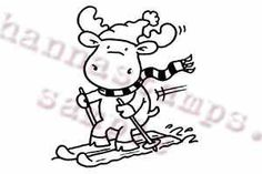 Hanna Stamps Moose Snow Ski Riley