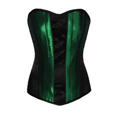 Your Size Boned Corset Top Black Green Satin Gothic ($60) ❤ liked on Polyvore